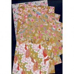 Origami Paper Embossed Prints On Washi - 150 mm - 10 sheets - Disc