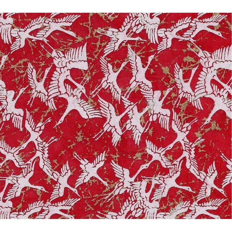 Unryu Paper Red With White Cranes and Gold Strands
