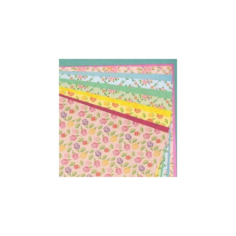 origami paper double sided flower print - 260 mm