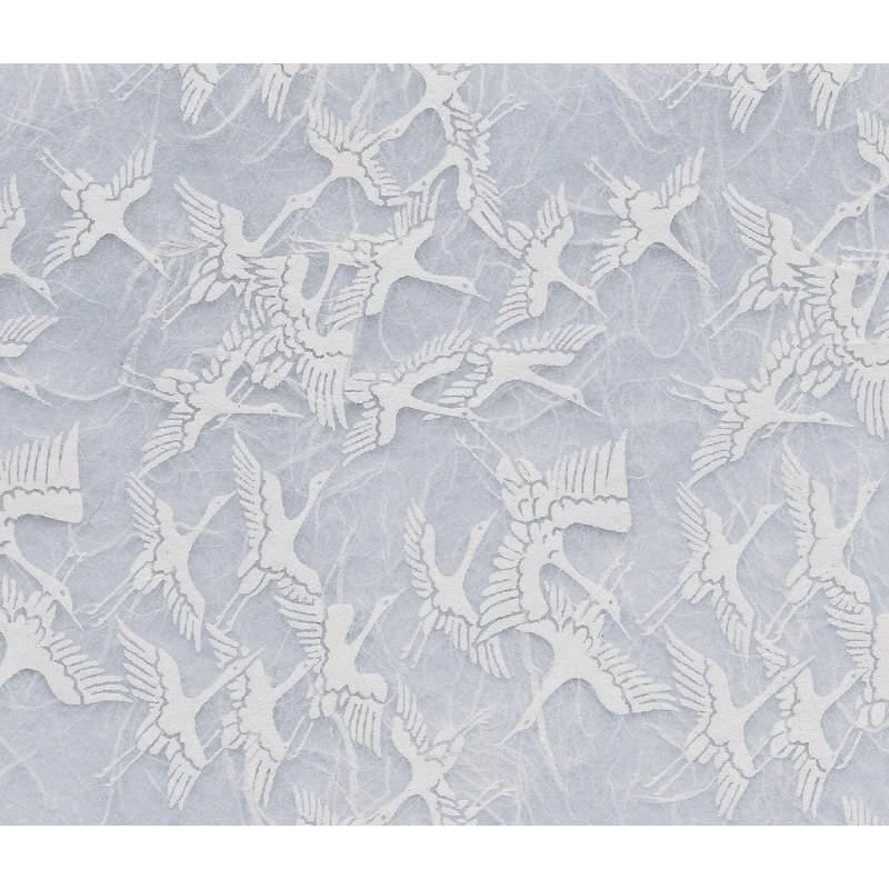 Unryu Paper - White With White Cranes