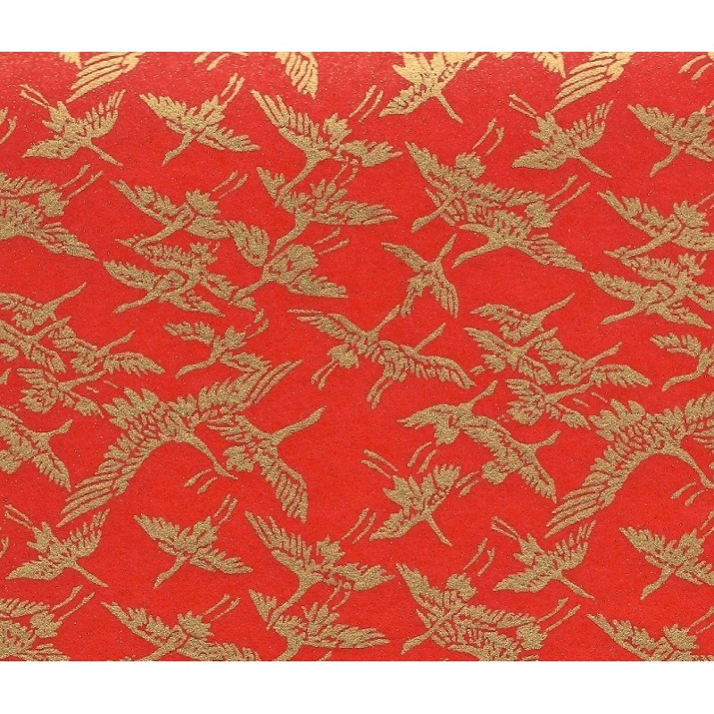 Washi Paper Red With Gold Cranes