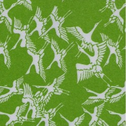075 mm_ 100 sh - Green Washi Paper With Cranes