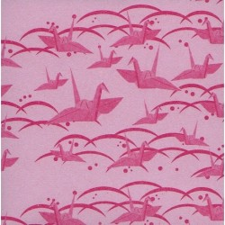 Origami Paper Pink Washi With Cranes - 075 mm -100 sheets