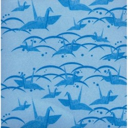 075 mm_ 100 sh - Blue Washi Paper With Cranes