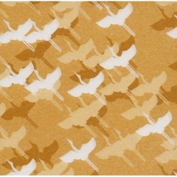 075 mm_ 100 sh - Butterscotch Washi Paper With Cranes