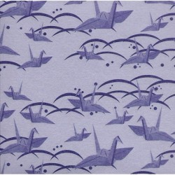 075 mm_ 100 sh - Purple Washi Paper With Cranes