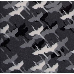 075 mm_ 100 sh - Grey Washi Paper With Cranes