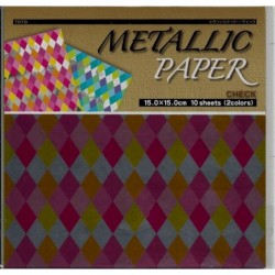 150 mm_  10 sh - Metallic Check Foil Paper