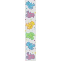 Teddy Bear Print White Satin Ribbon