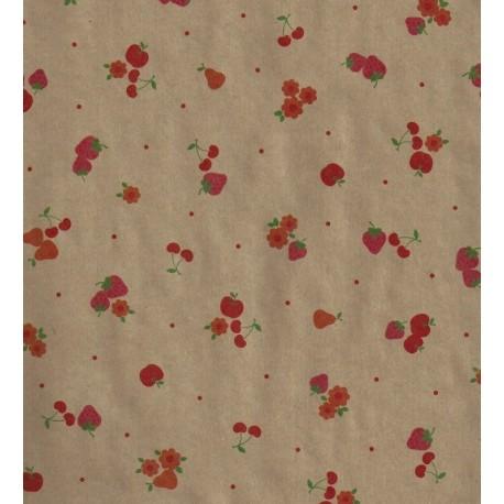 Kraft Paper - Flower and Fruit Print
