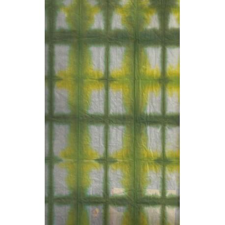 Handmade Itajime (Itajimeshi) Paper - Green and Yellow
