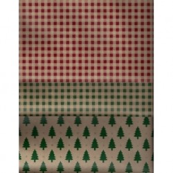 300 mm_   8 sh - Country Christmas Print Kraft Paper