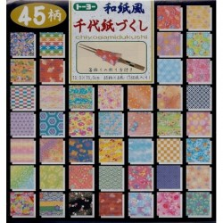 075 mm_ 180 sh - Origami Paper - 45 Prints With Plastic Case