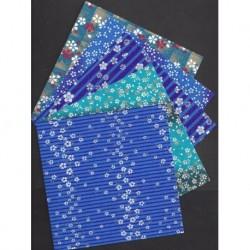 150 mm_   5 sh - Five Beautiful Aizome Washi Prints
