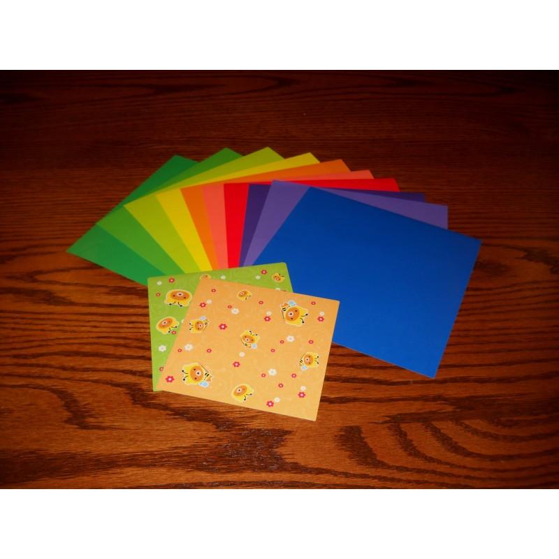 Origami Paper Print And Plain 100 Mm 20 Sheets Bulk