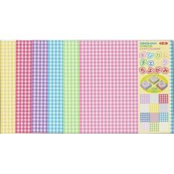 150 mm_  12 sh - Gingham Check Chiyogami Paper