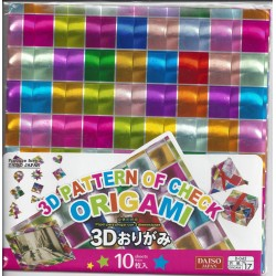 150 mm/  10 sh - 3D Pattern Check Foil Holographic Origami Paper