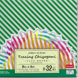Origami Paper Tracing Chiyogami With Stripe Pattern - 150 mm - 32 sh