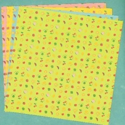Origami Paper  Double Sided Fruit Print - 150 mm - 12 sheets